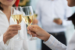 Office party. Close-up image of business people clinking glasses at office party royalty free stock photography