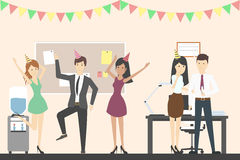 Office party dance. Holiday corporate dinner and disco. All staff in celebrating hats. Office with decoration vector illustration