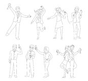 Office party people set thin line vector Stock Photo