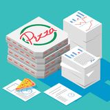 Office party,stacks of paper with isometric a box of pizza stock illustration