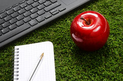Office, pc keyboard, notebook, apple on green grass Stock Image