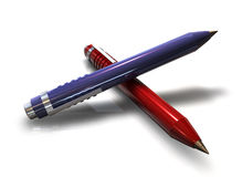 Office Pen. A 3d blue glossy pen leaning on another red glossy pen with nice perspective Stock Photos