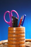 Office: Pencil Holder with Contents Stock Image