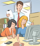Office people discussing. Vector illustration of office people discussing. Easy-edit layered vector EPS10 file scalable to any size without quality loss Stock Image