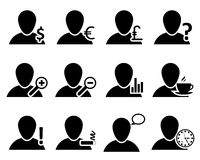 Office and people icon set. In black color. Vector illustration royalty free illustration