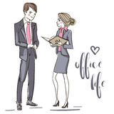 Office people. Man and woman. Stock Photos