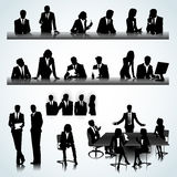 Office people. Set of business people silhouettes on the office background Stock Photo