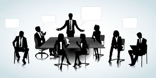 Office people. Set of business people silhouettes on the office background Royalty Free Stock Photography
