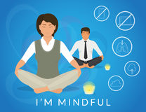 Office people sitting in calm lotus pose and relaxing Stock Image
