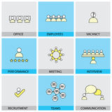 Office people vector line flat design icons - appraisal, recruit. Ment, interviews, meetings, conferences. Also showing training,  leadership, teamwork Royalty Free Stock Photos