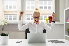 office person celebrating success Stock Images