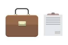 Office personal and Business Icon vector briefcase, document flat illustration Royalty Free Stock Photography