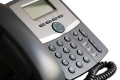 Office phone. Black office phone isolated on white background Royalty Free Stock Image