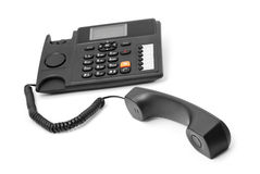 Office phone. Black office phone on white Royalty Free Stock Images