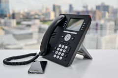 Office Phone and Mobile Phone Royalty Free Stock Photography
