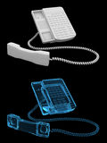 Office phone - transparent blue and black  Stock Images