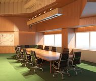 Office Photorealistic Render. 3D illustration. Meeting room. Office Photorealistic Render. Meeting room. Conference, planning, briefing leafjet 3D illustration royalty free stock photos