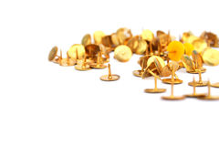 Office pins. Yellow office pins isolated on white background Stock Images
