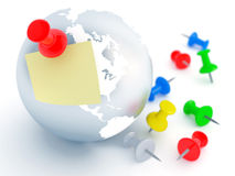Office pins and globe Royalty Free Stock Photo