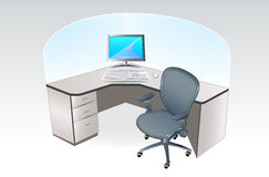 Office place cubicle. Typical working place cubicle with computer, table and office chair