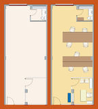 Office plan (vector). Vectorial illustration of a office plan with furniture Stock Photos