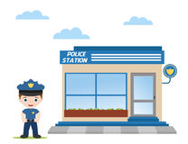 Office police. Police station with police officer in front