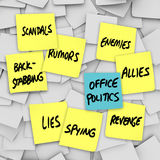 Office Politics Scandal Rumors Lies Gossip - Sticky Notes. Many yellow sticky notes with words Office Politics, Scandals, Lies, Back-Stabbing, Spying, Rumors Royalty Free Stock Images
