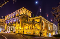 Office of the President of Serbia at night royalty free stock photography