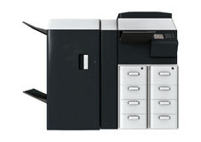 Office Printer. 3D digital render of an office printer isolated on white background royalty free stock image