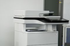 Office printer in office for printing and scanning docu. Close up office printer in office for printing and scanning documents Royalty Free Stock Photography