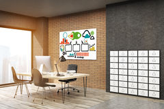 Office with project launch poster on brick wall Stock Image