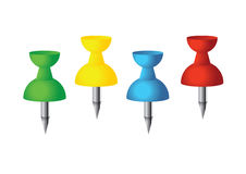 The office pushpins. Picture of yellow, red, blue and red office pushpins stock illustration