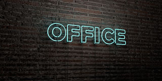OFFICE -Realistic Neon Sign on Brick Wall background - 3D rendered royalty free stock image Royalty Free Stock Photography