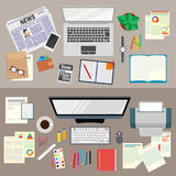 Office. Realistic workplace organization. The view from the top. Business analyst. Study the business strategy. Stock Photography