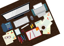 Office. Realistic workplace organization. The view from the top. Vector illustration Stock Photos
