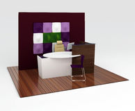 Office reception desk with a decorative partition. Isolated on white Royalty Free Stock Images