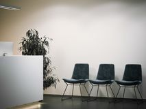 Office reception with waiting area. 3d rendering royalty free stock photography