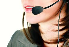 Office receptionist. Image taken of a female receptionist in the office speaking to a customer Stock Photo