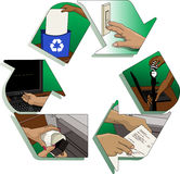 Office Recycle Ideas. Illustration of the recycle symbol with illustrations of good energy saving and recycling ideas inside - turning of light switch, recycling Stock Image