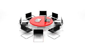 Office red round desk Royalty Free Stock Photos