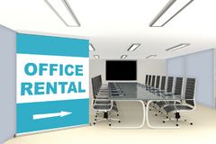 Office Rental workspace for special occasions. Conceptual image with a large sign pointing to a fully fitted conference room. 3d render Stock Photos