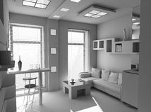 Office the rest room blank interior. (3d Stock Photo