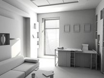 Office the rest room blank interior. (3d Stock Photography