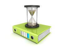Office ring binder with sand hourglass Stock Photography