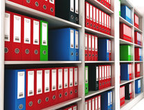 Office ring binders on a bookshelf. With depth of field Royalty Free Stock Images