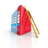 Office ring binders folders with wooden ladder. 3d render illustration Stock Photo