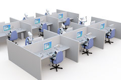 Office Robots. 3d render of several robots working in office cubicles against a white background Royalty Free Stock Image