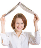 Office roof. The girl had a roof over her head using copy-book Stock Image