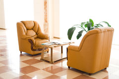 Office room. With chairs and table. Floor reflection. 2 Royalty Free Stock Photography