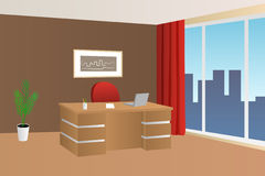 Office room beige brown red interior table chair window illustration Royalty Free Stock Photo